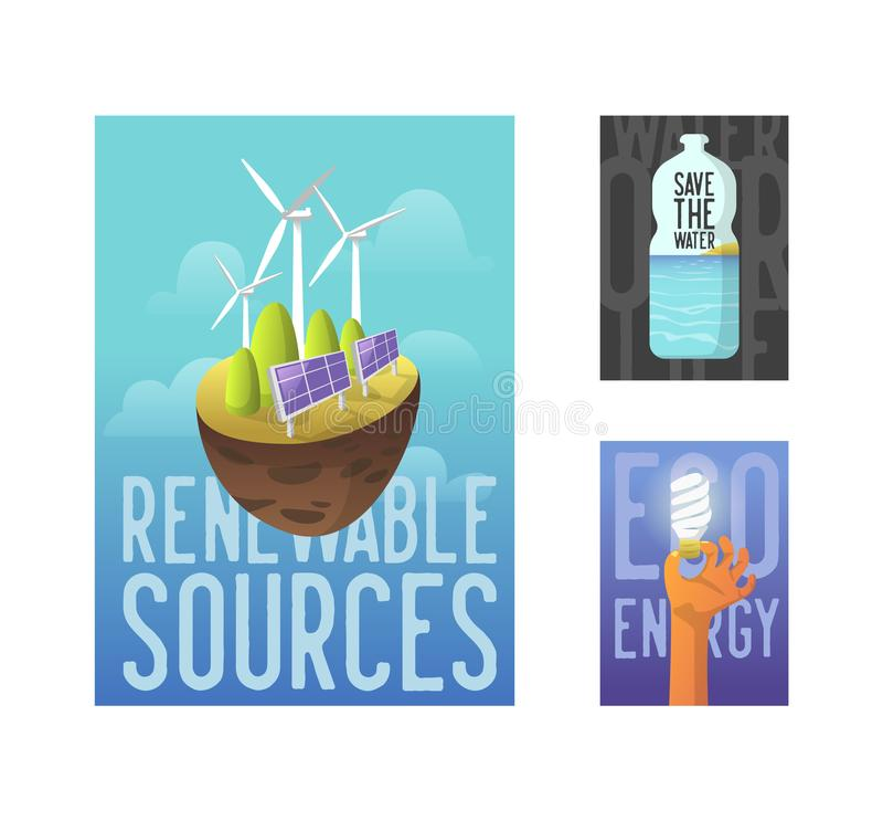Βιώσιμες πηγές ενέργειας, πράσινη τεχνολογία, έννοια περιβάλλοντος Ηλιακή μπαταρία, αιολική ενέργεια Έμβλημα οικολογίας, αφίσα απεικόνιση αποθεμάτων