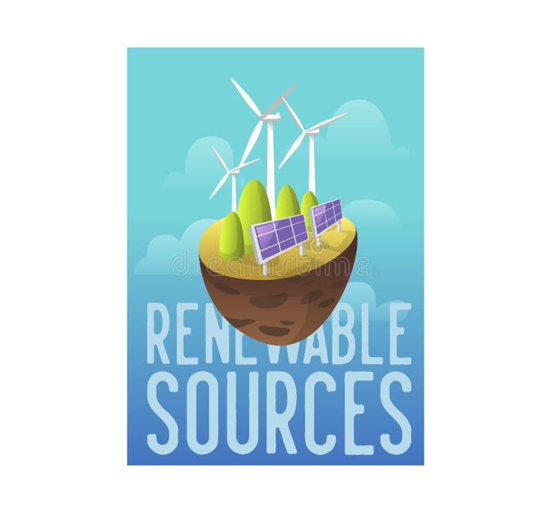 Βιώσιμες πηγές ενέργειας, πράσινη τεχνολογία, έννοια περιβάλλοντος Ηλιακή μπαταρία, αιολική ενέργεια Έμβλημα οικολογίας, αφίσα ελεύθερη απεικόνιση δικαιώματος