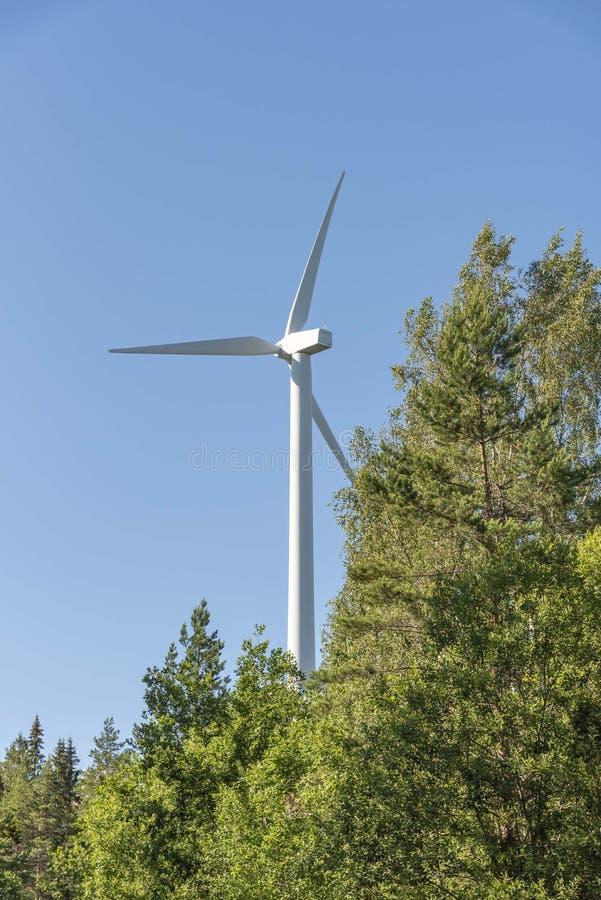 Βιώσιμος ενεργειακός ανεμόμυλος στο δάσος στοκ εικόνες
