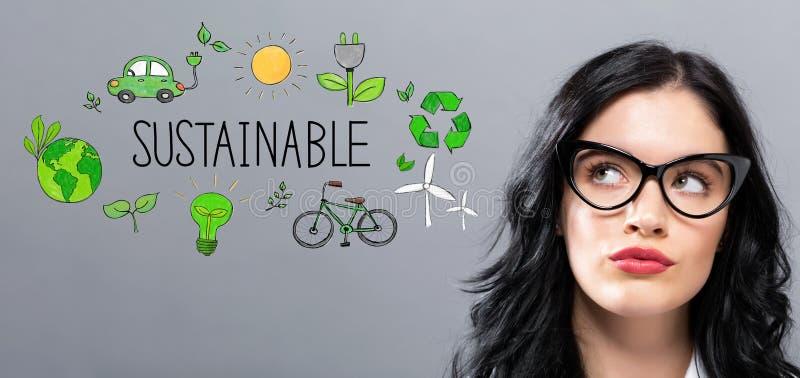 Βιώσιμος με τη νέα επιχειρηματία στοκ εικόνα με δικαίωμα ελεύθερης χρήσης
