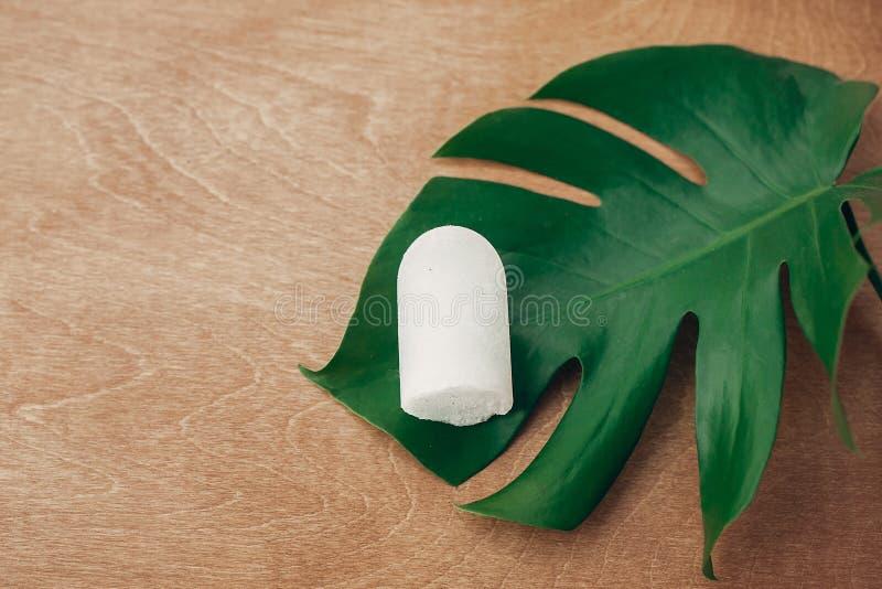 Βιώσιμος τρόπος ζωής Φυσικό αποσμητικό κρυστάλλου eco anulit στο ξύλινο υπόβαθρο με το πράσινο φύλλο monstera Πλαστική ελεύθερη ο στοκ εικόνες