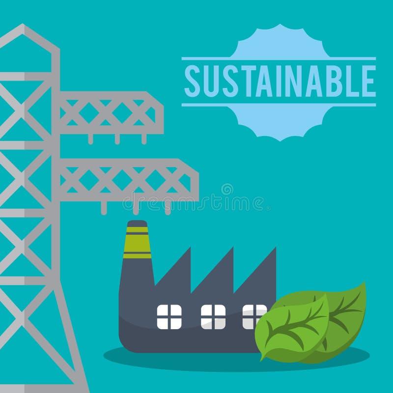 Βιώσιμο eco εργοστασίων πύργων ηλεκτρικό ελεύθερη απεικόνιση δικαιώματος