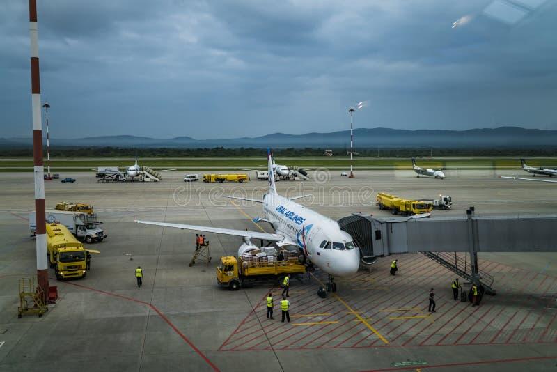 Βλαδιβοστόκ, Ρωσία, Agu 17 2017 - αερολιμένας του Βλαδιβοστόκ στοκ εικόνα