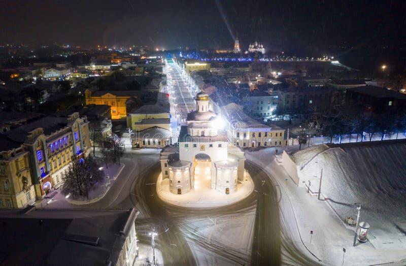 """Βλαντιμίρ, Ρωσία - 1 Ιανουαρίου 2010: Η χρυσή πύλη Ï""""Î¿Ï… Βλαντιμίρ κατασκεύα στοκ φωτογραφία με δικαίωμα ελεύθερης χρήσης"""