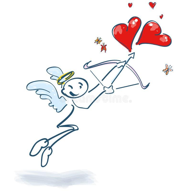 Βλαστοί αριθμού ραβδιών ως cupid με το τόξο και βέλος σε δύο καρδιές ελεύθερη απεικόνιση δικαιώματος