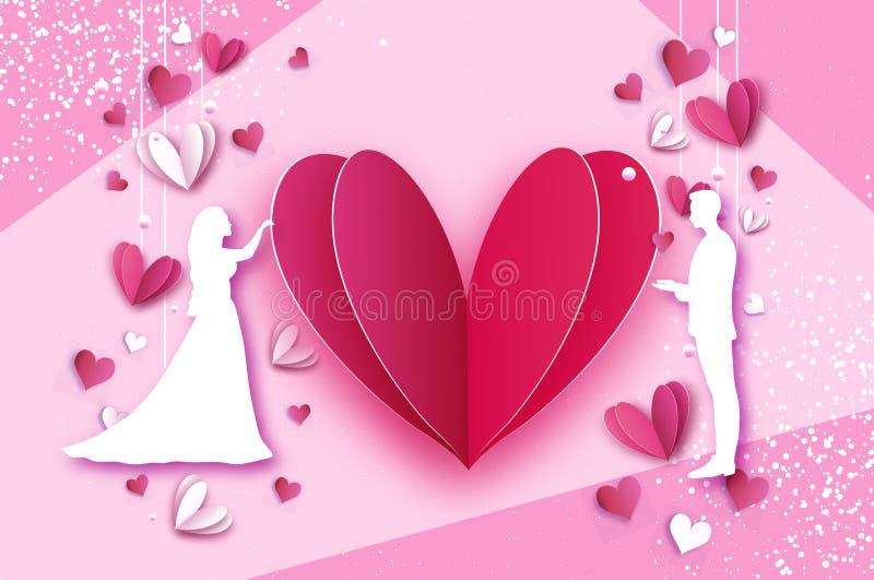 βλαστός αγάπης καρδιών πτώσης βελών Λευκοί ρομαντικοί εραστές Η μορφή καρδιών στο έγγραφο έκοψε το ύφος ευτυχής βαλεντίνος ημέρ&a διανυσματική απεικόνιση