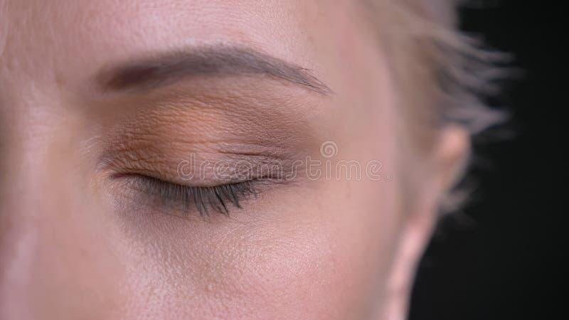 Βλαστός μισό-προσώπου κινηματογραφήσεων σε πρώτο πλάνο του νέου ελκυστικού καυκάσιου θηλυκού με το μπλε μάτι που κλείνουν μπροστά στοκ εικόνες