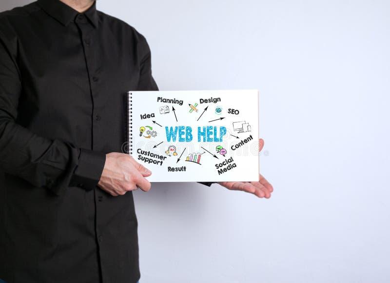 Βοήθεια Ιστού, έννοια ανάπτυξης ιστοχώρου Άτομο με ένα σημειωματάριο στο άσπρο υπόβαθρο στοκ εικόνες με δικαίωμα ελεύθερης χρήσης