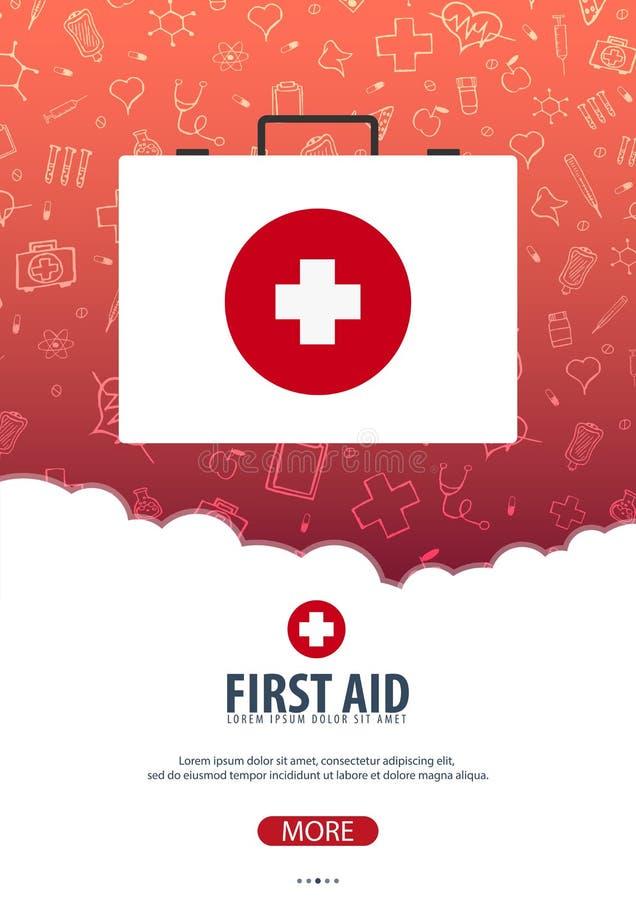 βοηθήστε πρώτα Ιατρική αφίσα η υγεία προσοχής όπλων απομόνωσε τις καθυστερήσεις Διανυσματική απεικόνιση ιατρικής διανυσματική απεικόνιση