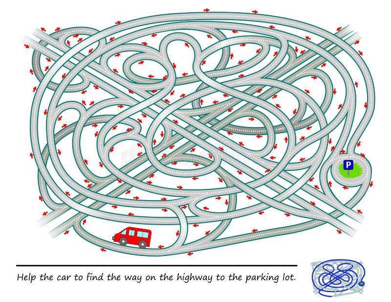 Παιχνίδι γρίφων λογικής με το λαβύρινθο για τα παιδιά και τους ενηλίκους Βοηθήστε το αυτοκίνητο για να βρείτε τον τρόπο στην εθνι διανυσματική απεικόνιση