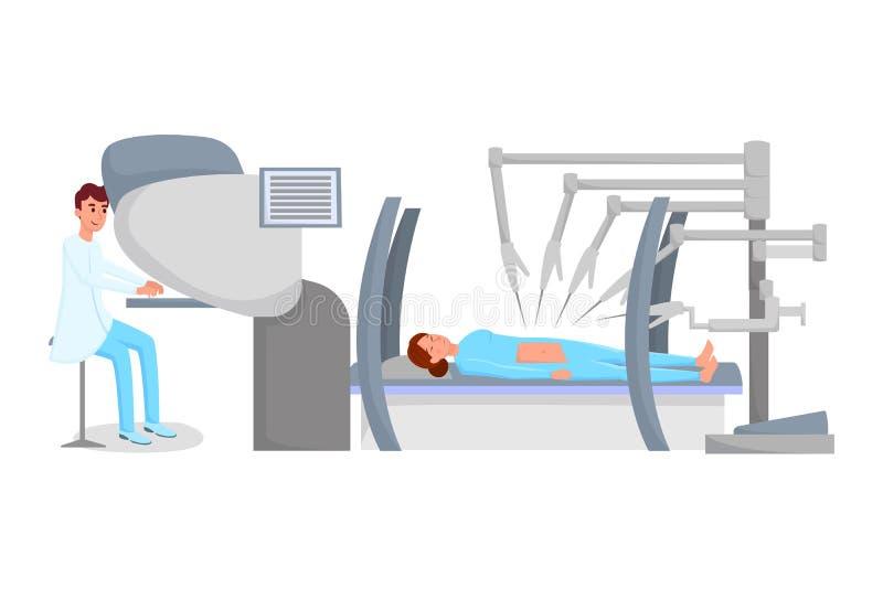 Βοηθημένη ρομπότ επίπεδη διανυσματική απεικόνιση χειρουργικών επεμβάσεων Χειρούργος και ασθενής κάτω από τους χαρακτήρες αναισθησ απεικόνιση αποθεμάτων