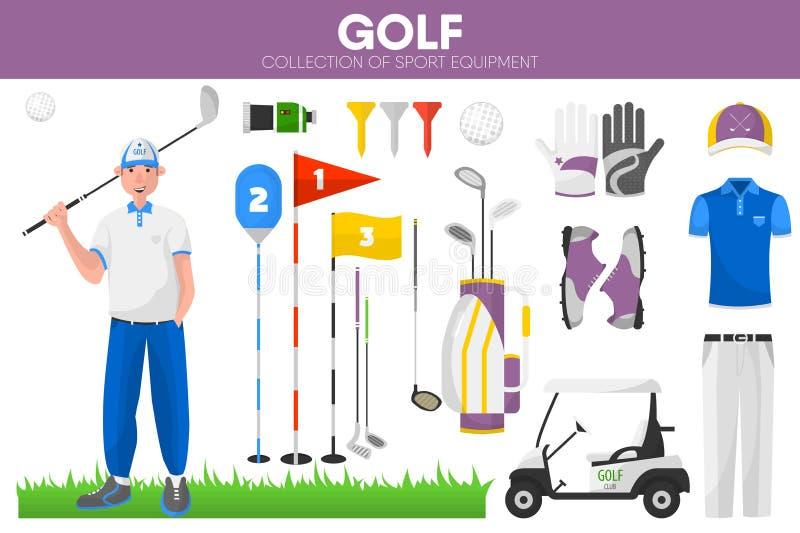 Βοηθητικά διανυσματικά εικονίδια ενδυμάτων φορέων παικτών γκολφ αθλητικού εξοπλισμού γκολφ καθορισμένα απεικόνιση αποθεμάτων