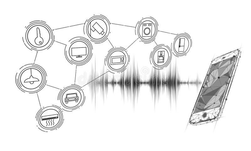 Βοηθητικός έξυπνος εγχώριος έλεγχος φωνής Διαδίκτυο της έννοιας τεχνολογίας καινοτομίας εικονιδίων πραγμάτων Ασύρματο δίκτυο soun απεικόνιση αποθεμάτων