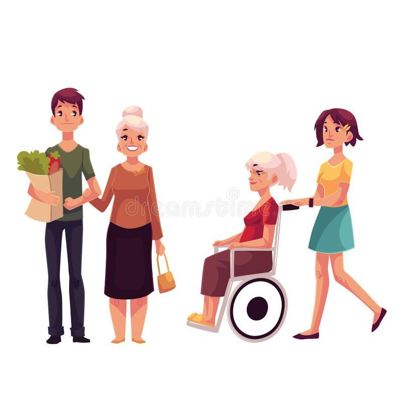 Βοηθώντας τη γιαγιά με να ψωνίσει και strolling μέσα η αναπηρική καρέκλα της απεικόνιση αποθεμάτων