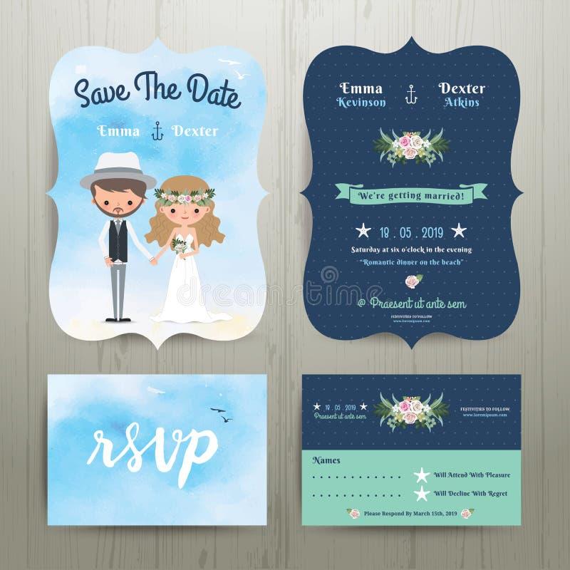 Βοημίας ζεύγος κινούμενων σχεδίων στο σύνολο προτύπων γαμήλιων καρτών παραλιών απεικόνιση αποθεμάτων