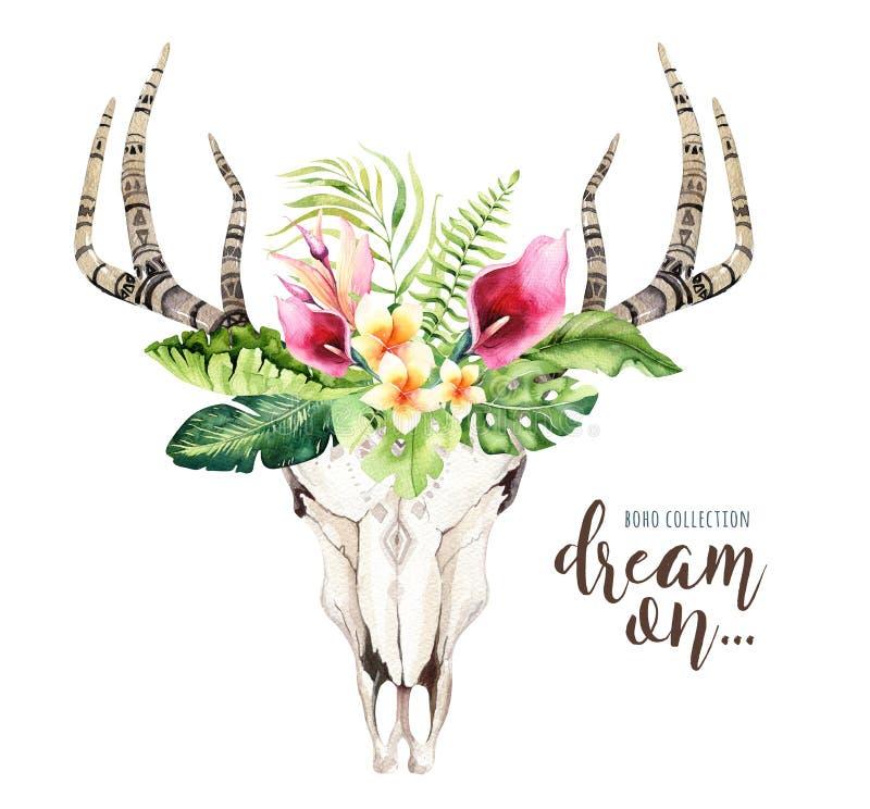 Βοημίας κρανίο αγελάδων Watercolor και τροπικά φύλλα φοινικών Δυτικά θηλαστικά ελαφιών Τροπικά ελαφόκερες τυπωμένων υλών διακοσμή διανυσματική απεικόνιση
