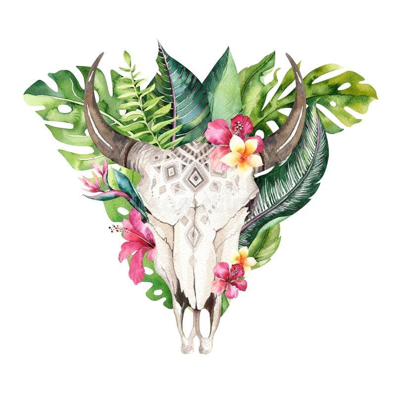 Βοημίας κρανίο αγελάδων Watercolor και τροπικά φύλλα φοινικών Δυτικά θηλαστικά ελαφιών Τροπικά ελαφόκερες τυπωμένων υλών διακοσμή ελεύθερη απεικόνιση δικαιώματος