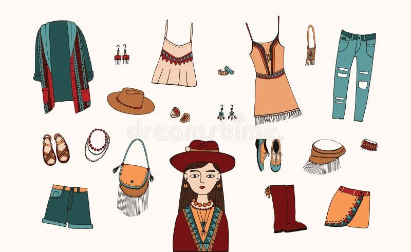 Βοημίας σύνολο ύφους μόδας Ενδύματα Boho και τσιγγάνων, συλλογή εξαρτημάτων Ζωηρόχρωμη συρμένη χέρι απεικόνιση διανυσματική απεικόνιση