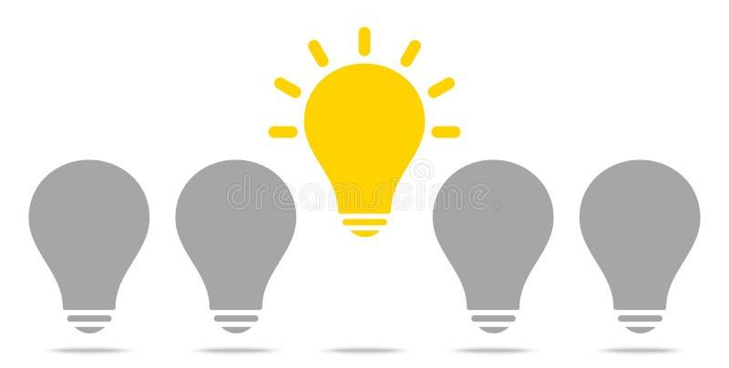 Βολβοί μια αυξανόμενη να λάμψει ιδέα κίτρινη και γκρίζα διανυσματική απεικόνιση