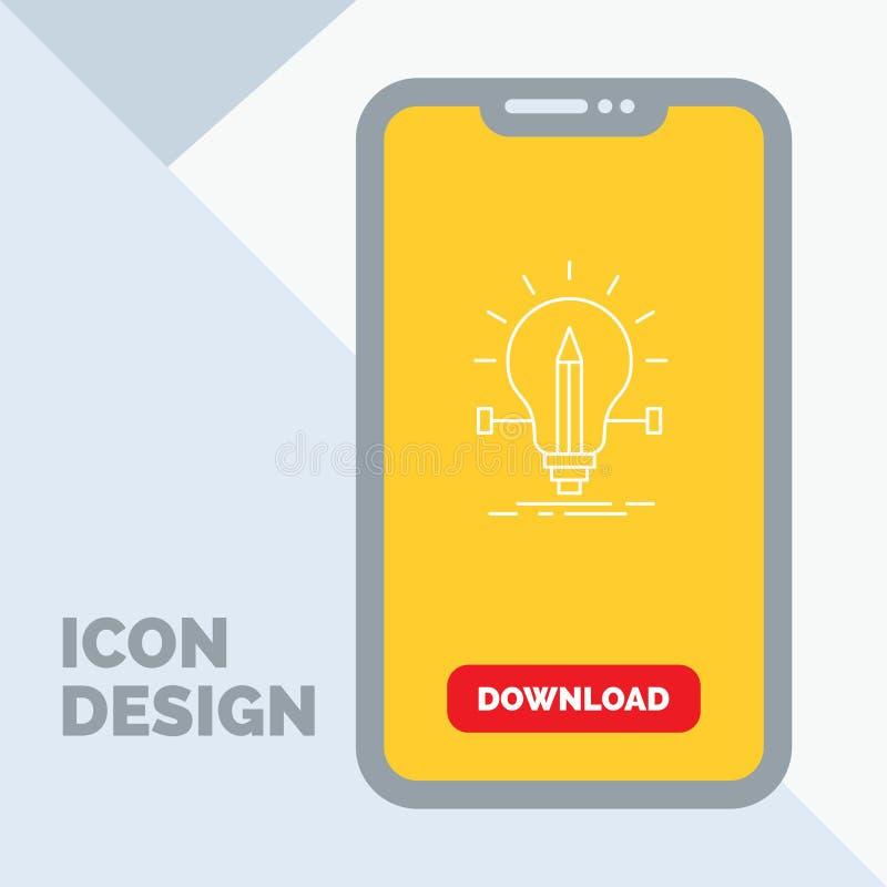 βολβός, δημιουργικός, λύση, φως, εικονίδιο γραμμών μολυβιών σε κινητό για Download τη σελίδα απεικόνιση αποθεμάτων