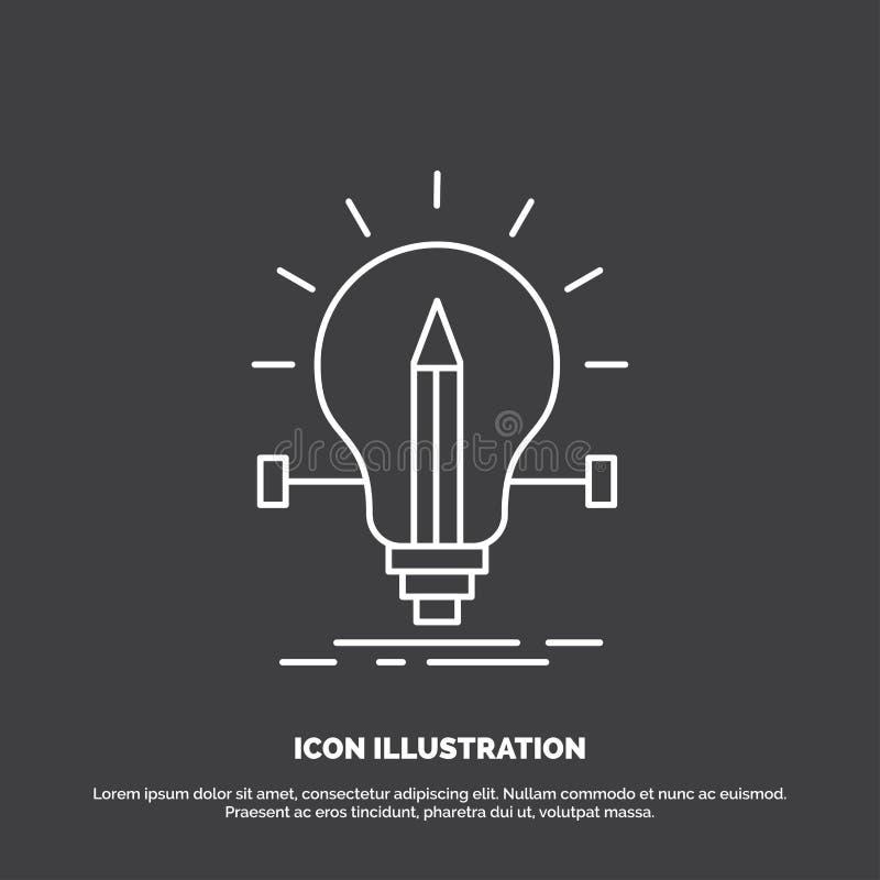 βολβός, δημιουργικός, λύση, φως, εικονίδιο μολυβιών Διανυσματικό σύμβολο γραμμών για UI και UX, τον ιστοχώρο ή την κινητή εφαρμογ απεικόνιση αποθεμάτων