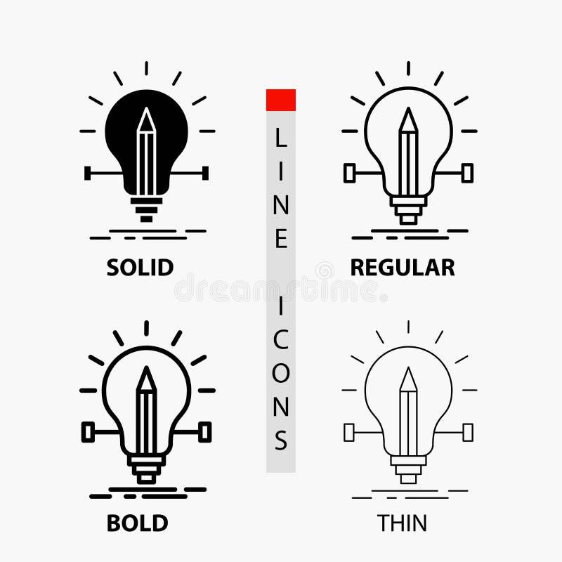 βολβός, δημιουργικός, λύση, φως, εικονίδιο μολυβιών στη λεπτά, κανονικά, τολμηρά γραμμή και το ύφος Glyph r διανυσματική απεικόνιση