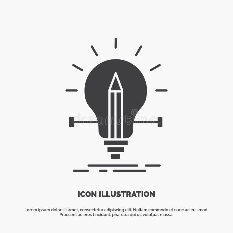 βολβός, δημιουργικός, λύση, φως, εικονίδιο μολυβιών r απεικόνιση αποθεμάτων