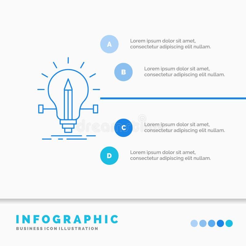 βολβός, δημιουργικός, λύση, φως, πρότυπο Infographics μολυβιών για τον ιστοχώρο και παρουσίαση Infographic ύφος εικονιδίων γραμμώ ελεύθερη απεικόνιση δικαιώματος