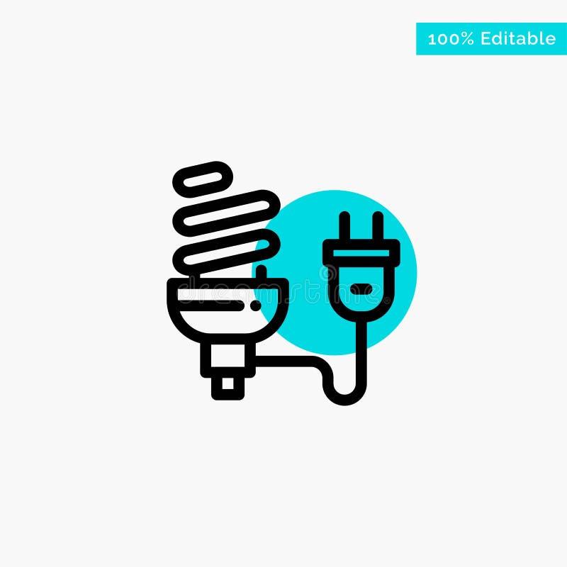 Βολβός, οικονομικός, ηλεκτρικός, ενέργεια, λάμπα φωτός, διανυσματικό εικονίδιο σημείου κυριώτερων κύκλων βουλωμάτων τυρκουάζ διανυσματική απεικόνιση