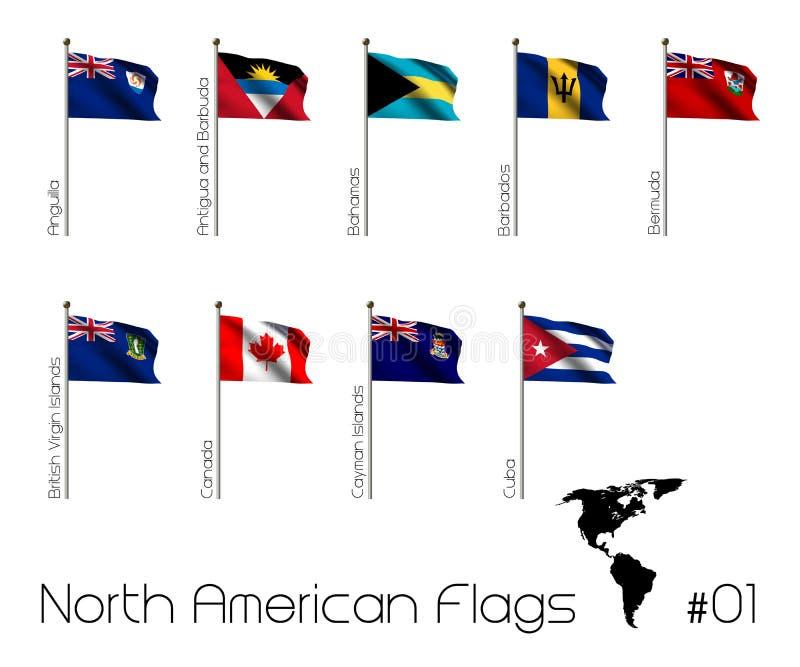 Βορειοαμερικανικές σημαίες διανυσματική απεικόνιση