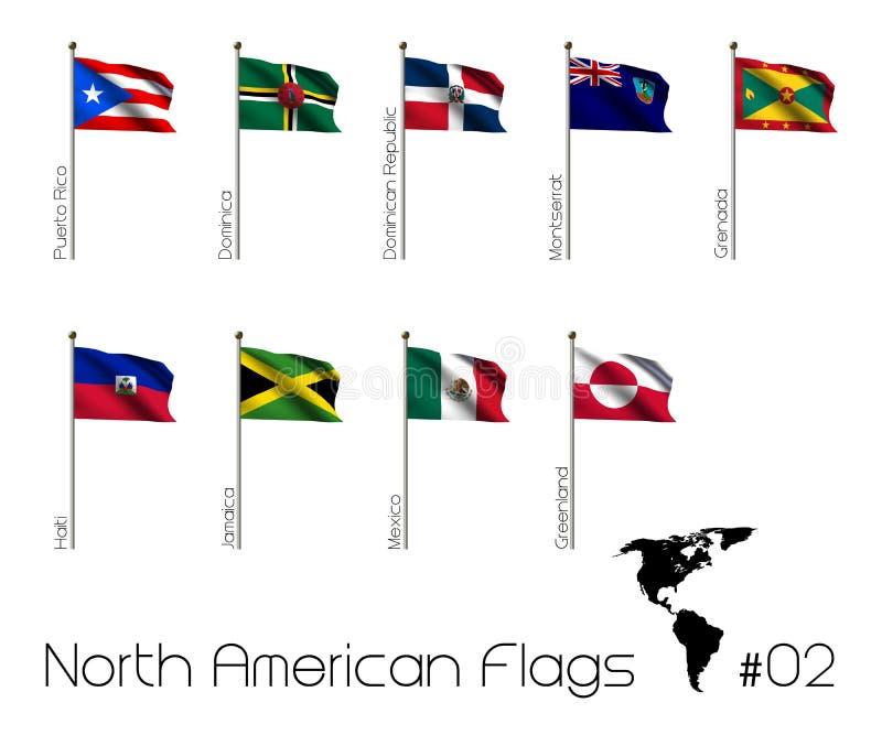 Βορειοαμερικανικές σημαίες ελεύθερη απεικόνιση δικαιώματος