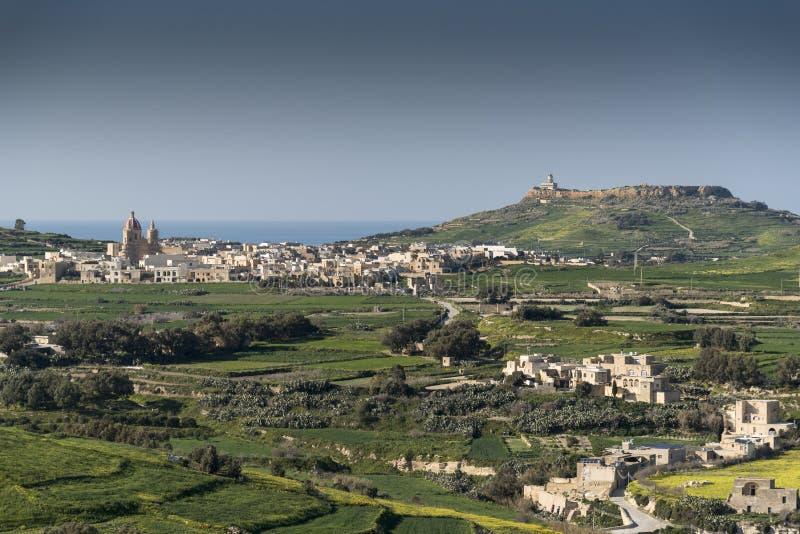 Βορειοδυτικά άποψης από την ακρόπολη Βικτώριας Gozo Μάλτα στοκ φωτογραφίες με δικαίωμα ελεύθερης χρήσης