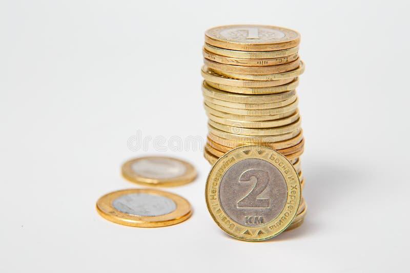Βοσνιακό μετατρέψιμο σημάδι, νομίσματα στο απομονωμένο υπόβαθρο στοκ φωτογραφία με δικαίωμα ελεύθερης χρήσης