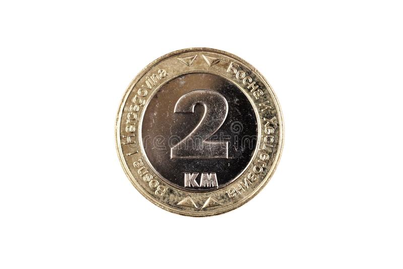 Βοσνιακό νόμισμα 2 χλμ που απομονώνεται σε ένα άσπρο υπόβαθρο στοκ εικόνες