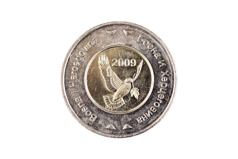 Βοσνιακό νόμισμα 5 χλμ που απομονώνεται σε ένα άσπρο υπόβαθρο στοκ εικόνες με δικαίωμα ελεύθερης χρήσης