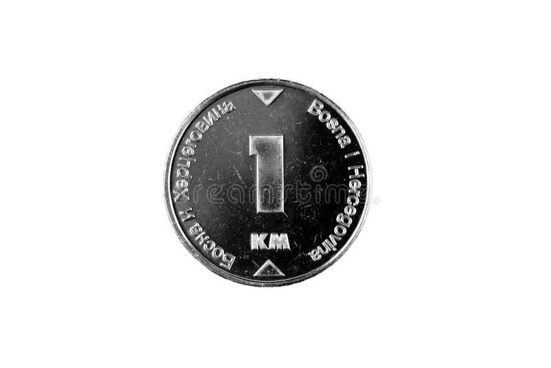 Βοσνιακό νόμισμα 1 χλμ που απομονώνεται σε ένα άσπρο υπόβαθρο στοκ φωτογραφία