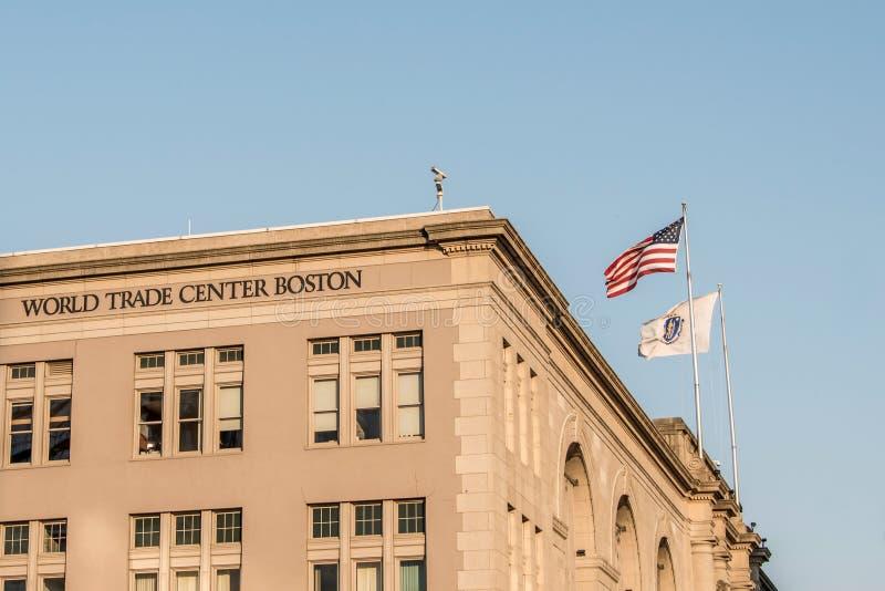ΒΟΣΤΩΝΗ, ΗΠΑ 05 09 2017 να στηριχτεί του World Trade Center θαλάσσιων λιμένων τοποθετημένο στη νότια Βοστώνη αποβαθρών Κοινοπολιτ στοκ φωτογραφία με δικαίωμα ελεύθερης χρήσης