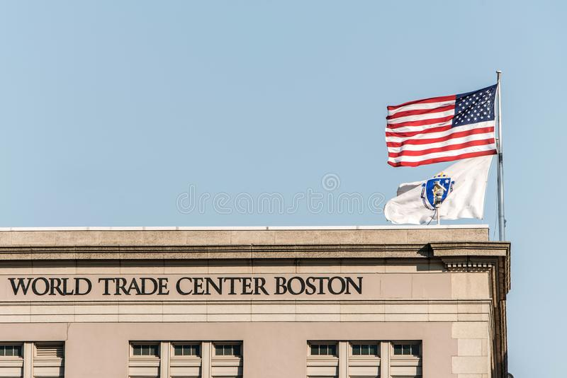ΒΟΣΤΩΝΗ, ΗΠΑ 05 09 2017 να στηριχτεί του World Trade Center θαλάσσιων λιμένων τοποθετημένο στη νότια Βοστώνη αποβαθρών Κοινοπολιτ στοκ φωτογραφίες με δικαίωμα ελεύθερης χρήσης