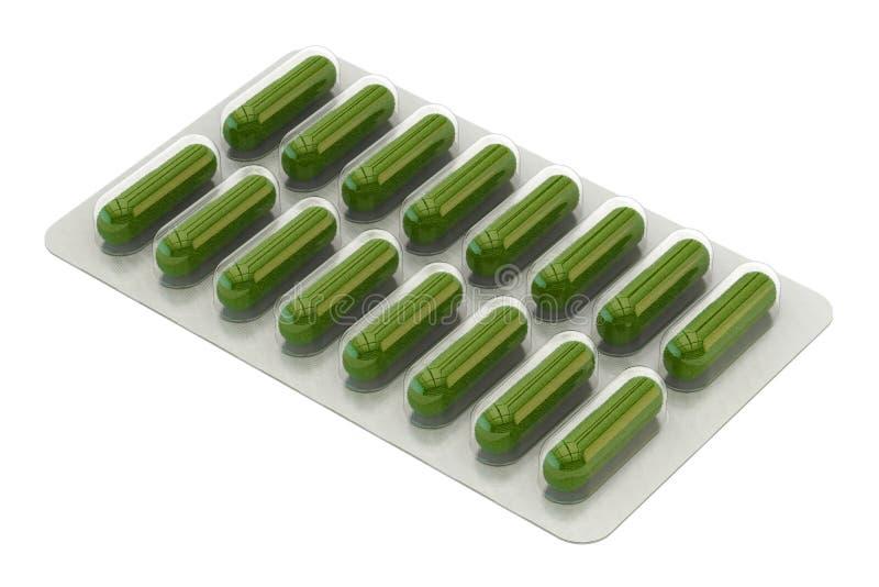 Βοτανικά χάπια στη φουσκάλα, τρισδιάστατη απόδοση ελεύθερη απεικόνιση δικαιώματος