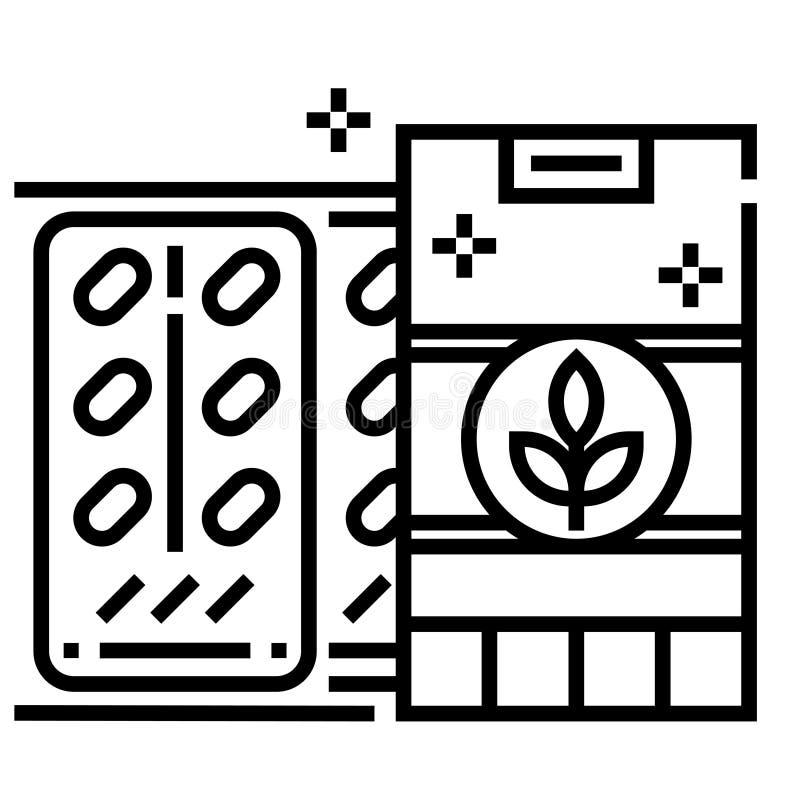 Βοτανική απεικόνιση γραμμών φαρμάκων απεικόνιση αποθεμάτων