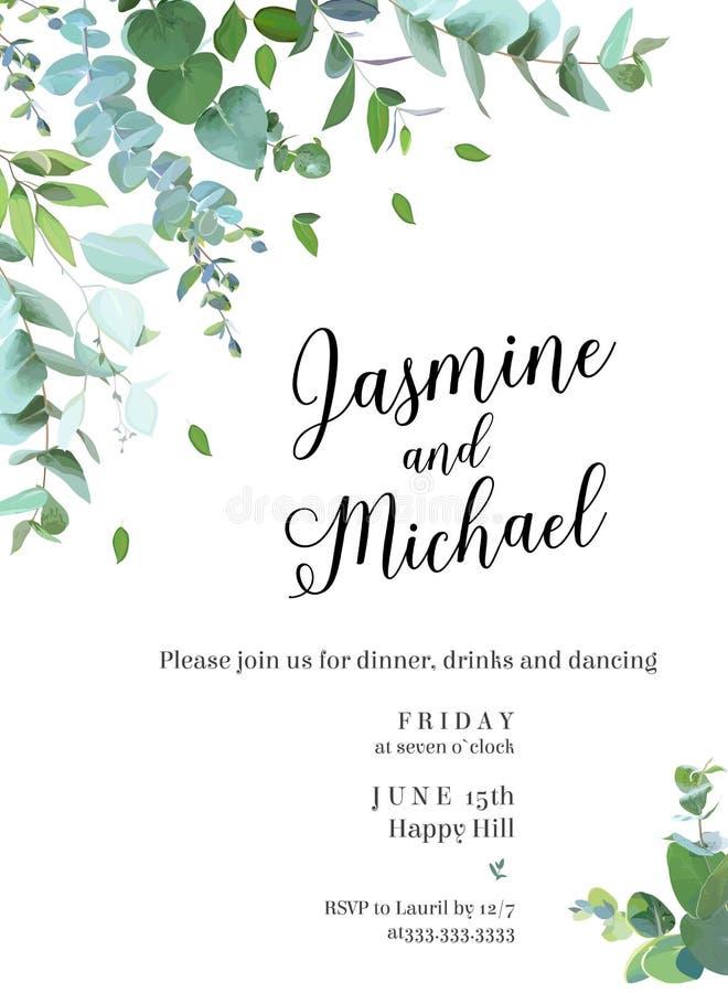 Βοτανική γαμήλια πρόσκληση πρασινάδων απεικόνιση αποθεμάτων