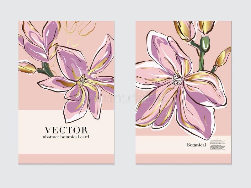 Βοτανική γαμήλια πρόσκληση, πρότυπο επιχειρησιακών ιπτάμενων, ευχετήρια κάρτα Σχέδιο Magnolia, ρόδινα χρυσά λουλούδια και φύλλα μ διανυσματική απεικόνιση