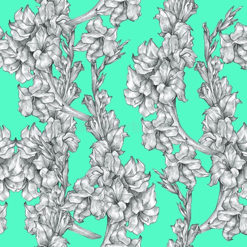 Βοτανική floral λουλουδιών μολυβιών σχεδίων σύσταση σχεδίων σκίτσων άνευ ραφής περίκομψη στο φωτεινό μπλε υπόβαθρο για τις προσκλ ελεύθερη απεικόνιση δικαιώματος
