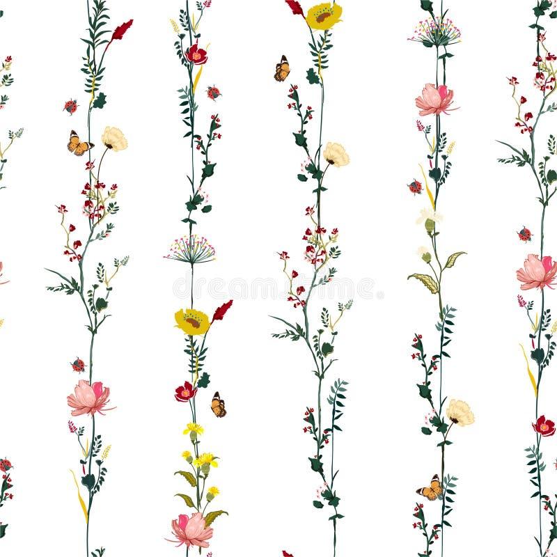 Βοτανικό άνευ ραφής σχέδιο λουλουδιών κήπων σειρών λωρίδων κάθετο στο διανυσματικό μοντέρνο σχέδιο απεικόνισης για τη μόδα, ύφασμ απεικόνιση αποθεμάτων