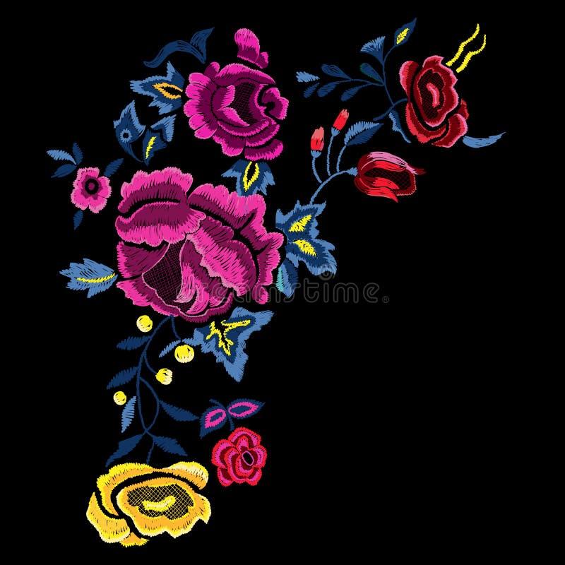Βοτανικό λαϊκό σχέδιο κεντητικής με τα ρόδινα και κίτρινα τριαντάφυλλα διανυσματική απεικόνιση