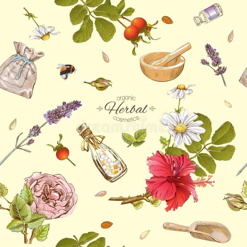 Βοτανικό σχέδιο καλλυντικών απεικόνιση αποθεμάτων