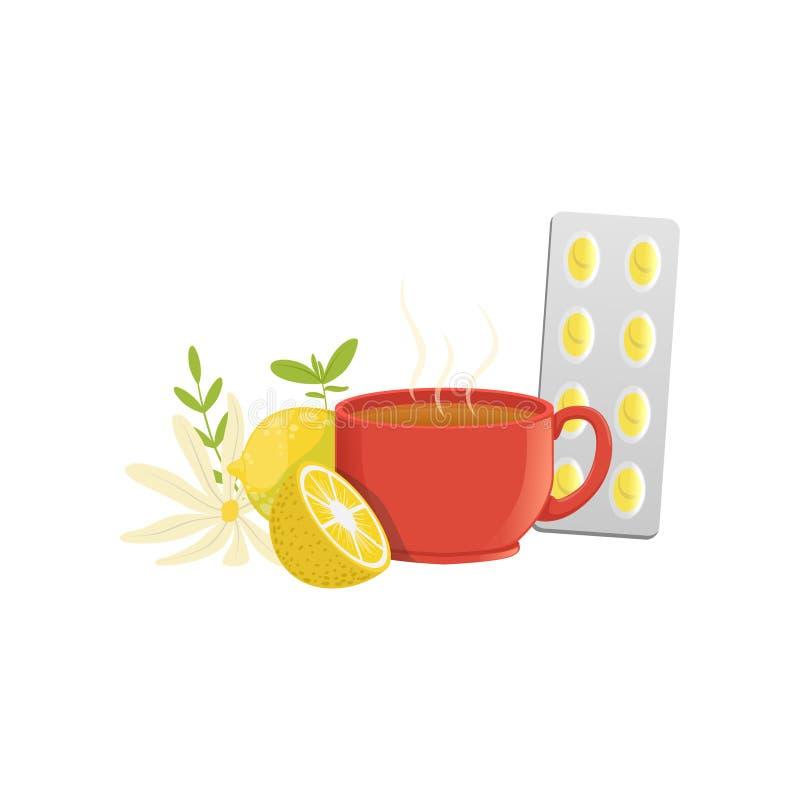 Βοτανικό τσάι σε ένα κόκκινο φλυτζάνι, ένα λεμόνι, διανυσματική απεικόνιση chamomile και θεραπειών χαπιών μια κρύα σε ένα άσπρο υ απεικόνιση αποθεμάτων