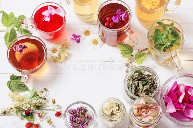 Βοτανικό τσάι στα φλυτζάνια σε ένα άσπρο υπόβαθρο στοκ εικόνες