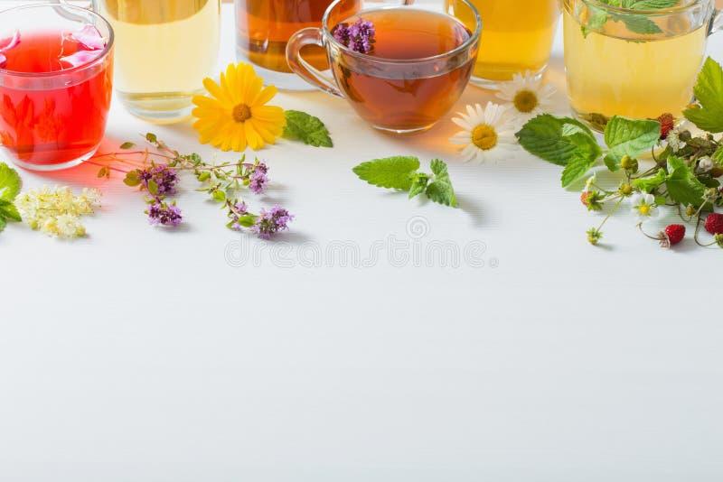 Βοτανικό τσάι στα φλυτζάνια στο άσπρο υπόβαθρο στοκ φωτογραφίες