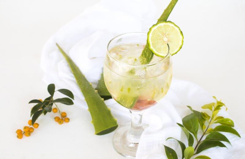 Βοτανικό υγιές παγωμένο ποτά aloe νερό κοκτέιλ της Βέρα στοκ εικόνες